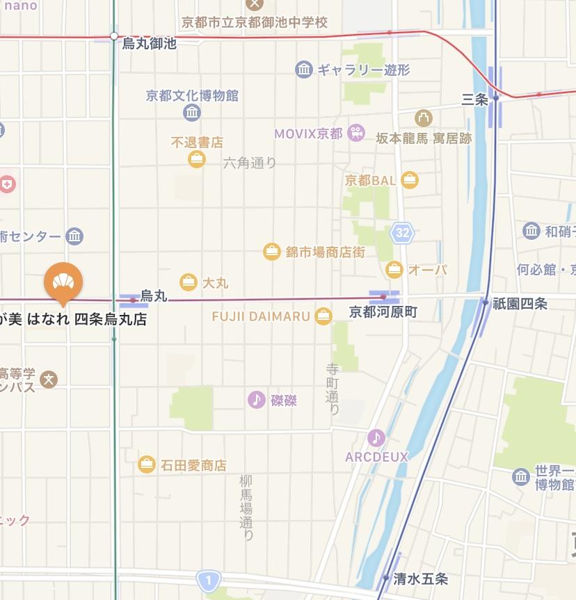 「乃が美」四条烏丸店の地図