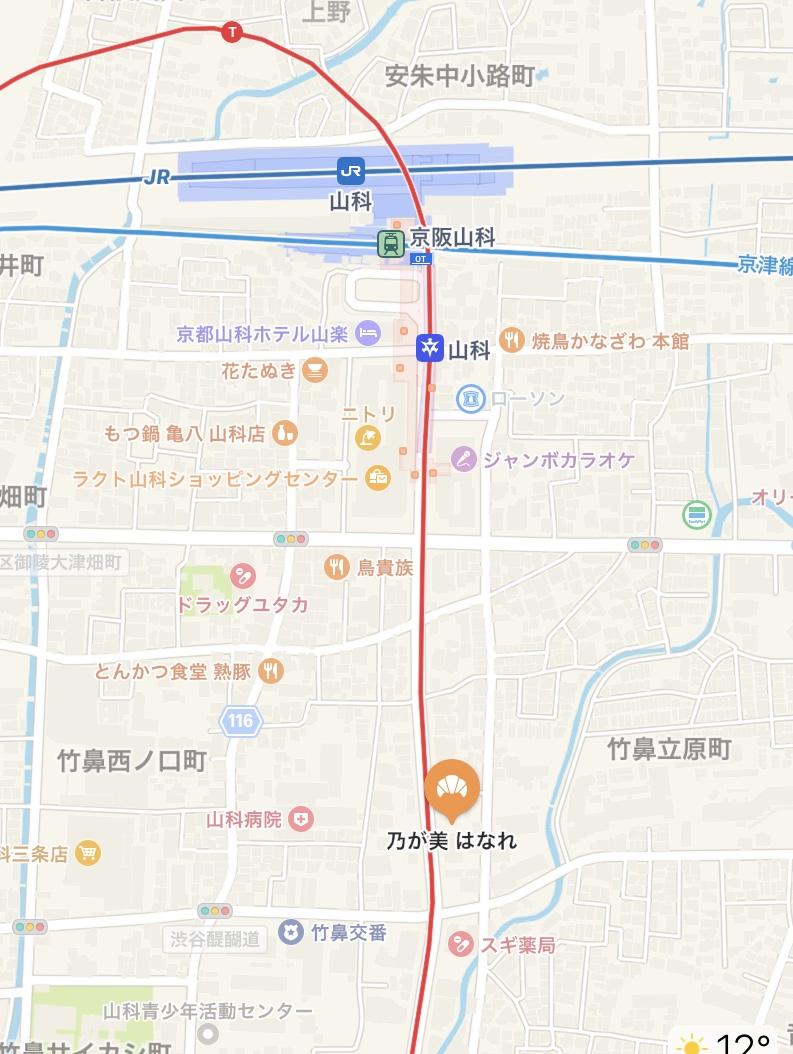 「乃が美」山科販売店の地図
