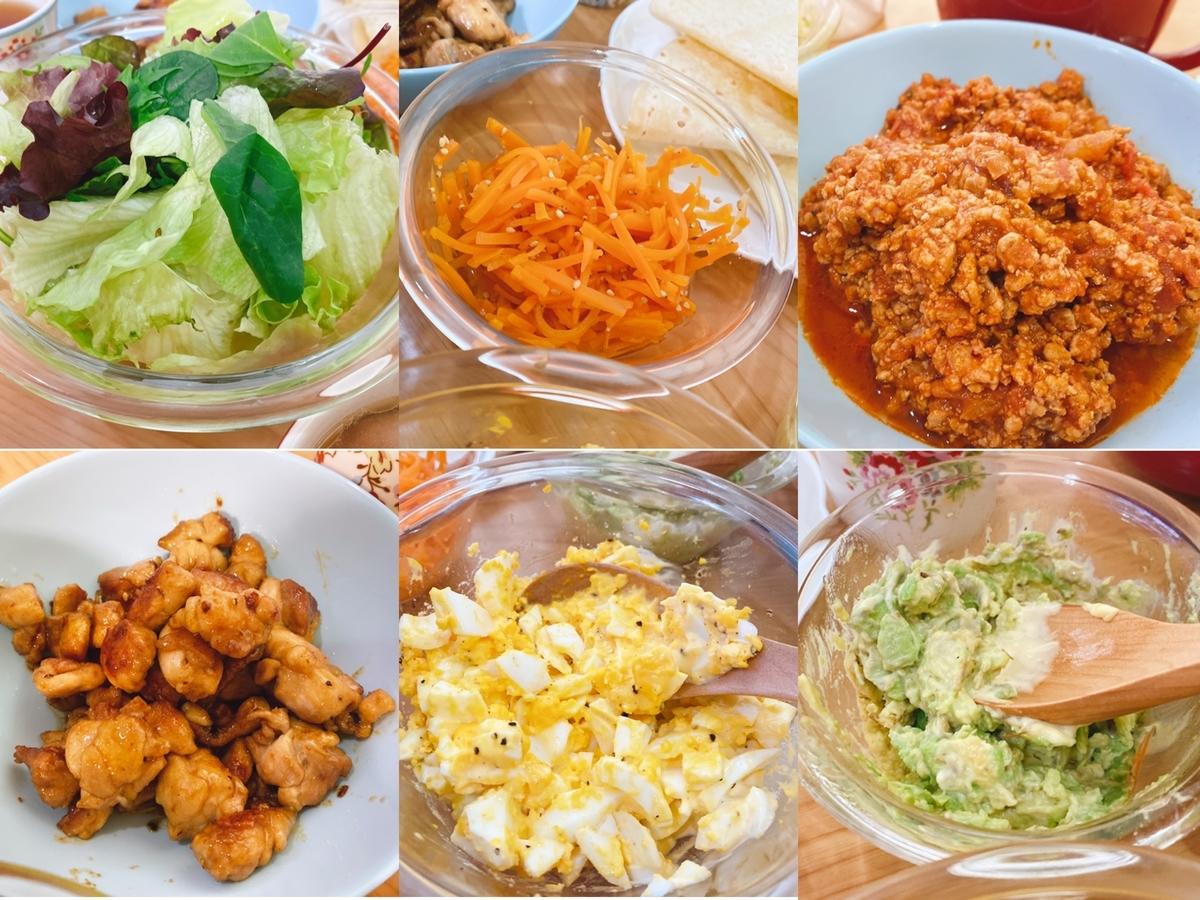 タコスに使った食材の写真