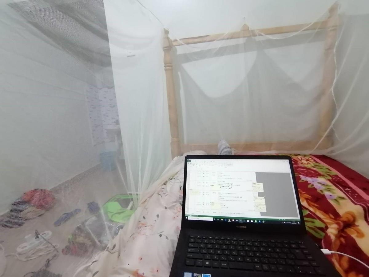 ウガンダ滞在中はマラリアを運ぶ蚊から身を守るため、蚊帳の中で作業する