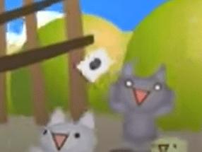 かわいい猫が振ってる旗は、なんで黒丸なんだろう?