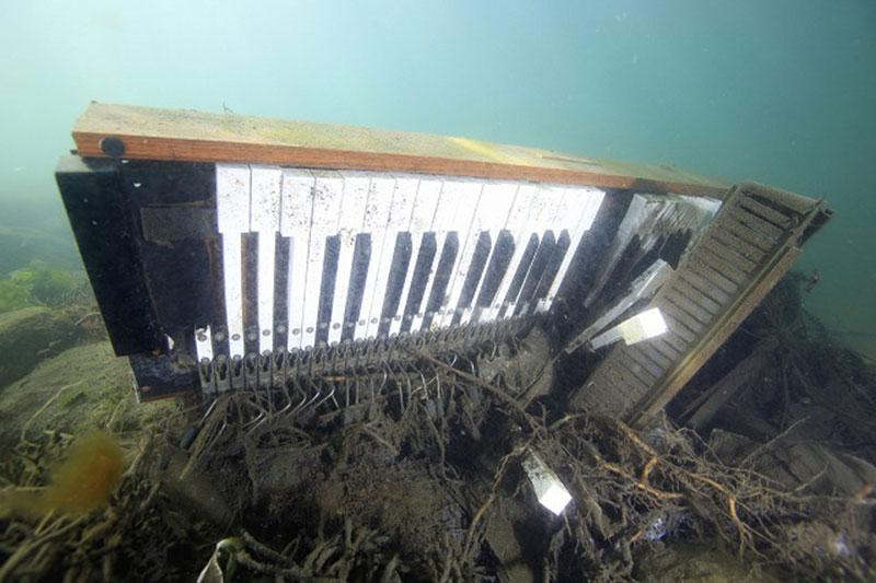 海底で見つけたアップライトピアノ