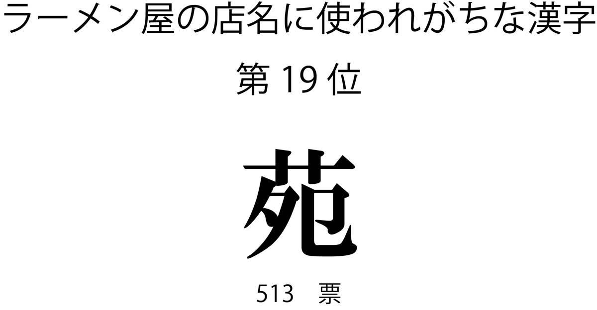 ラーメン屋の店名に使われがちな漢字第19位「苑」