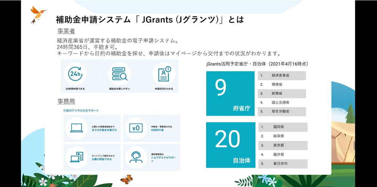 事業者、国、自治体を繋ぐDX基盤「JGrants(ジェイグランツ」