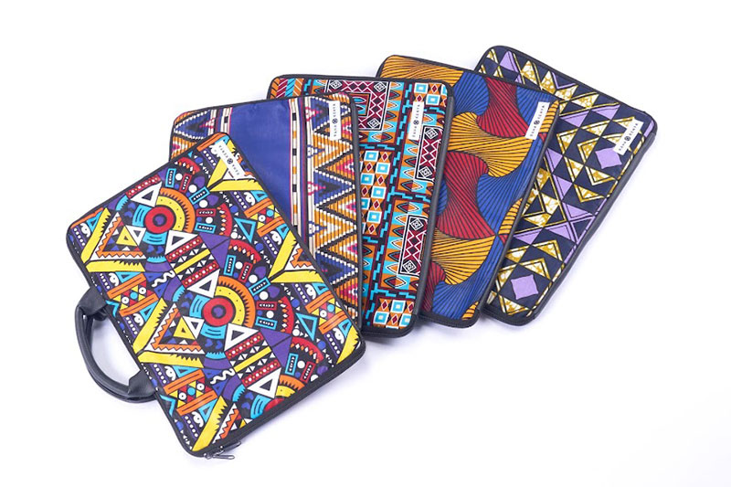 アフリカ布を使ったパソコンケース