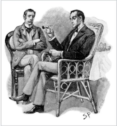 シドニー・パジェット画・シャーロックホームズ(向かって右)とワトソン博士(左)