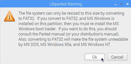 警告メッセージ:fat16 を fat32 に変更しますか?