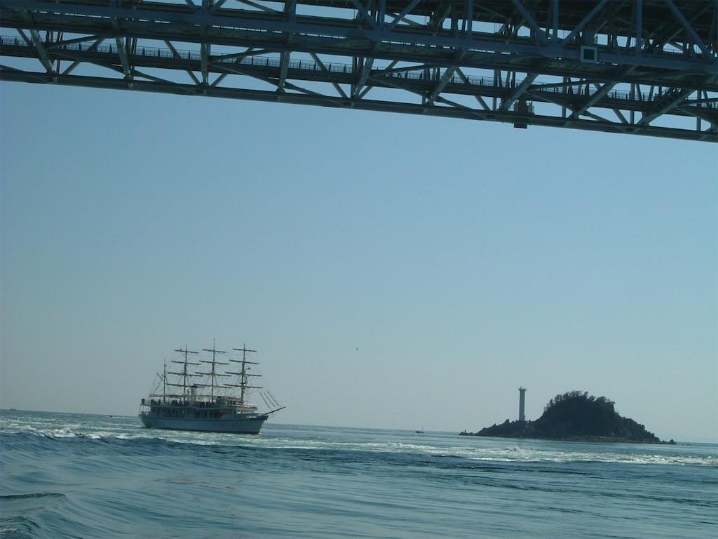 観潮船で大鳴門橋の下を通ります