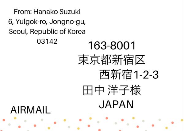 海外から日本への手紙の宛名