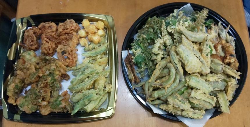 大皿2つにたっぷりの野菜天ぷら