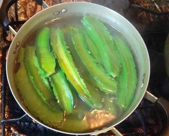 鍋で四角豆を茹でている状態