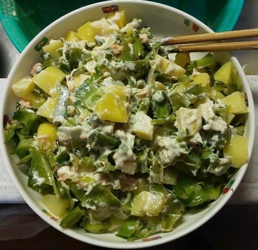 出来上がった四角豆(うりずん)とじゃがいも、ツナ缶のサラダ