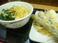 「たも屋女道場」かけ中、半熟たまご天、茄子の天ぷら、かき揚げ