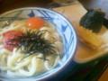 「丸亀製麺」明太釜玉セット(高菜おにぎりとちくわ天)