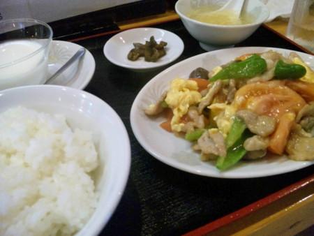 志度「福菜」豚肉・玉子とトマトの塩炒め定食