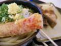 「こがね製麺」おろしぶっかけ中冷、かにかま天、和牛すじ肉、焼き豆