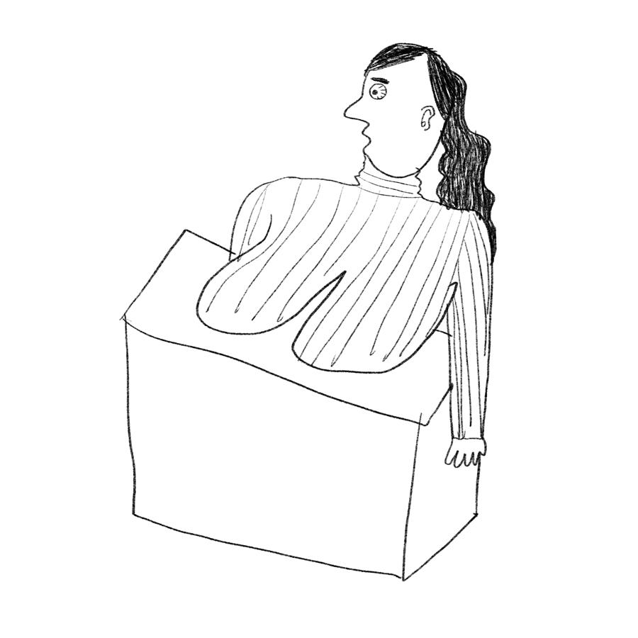 乳がカウンターに乗っかっちゃってる受付の女の無料イラスト - ゆるい