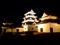 大洲城天守及び高欄櫓・台所櫓(ライトアップ)