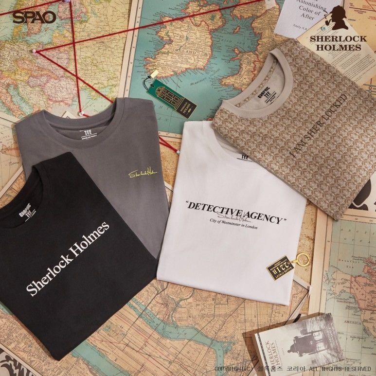 韓国 SPAO  コラボTシャツ シャーロックホームズ