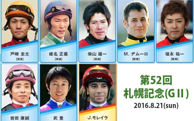 札幌記念(2016)の騎手と騎乗馬...
