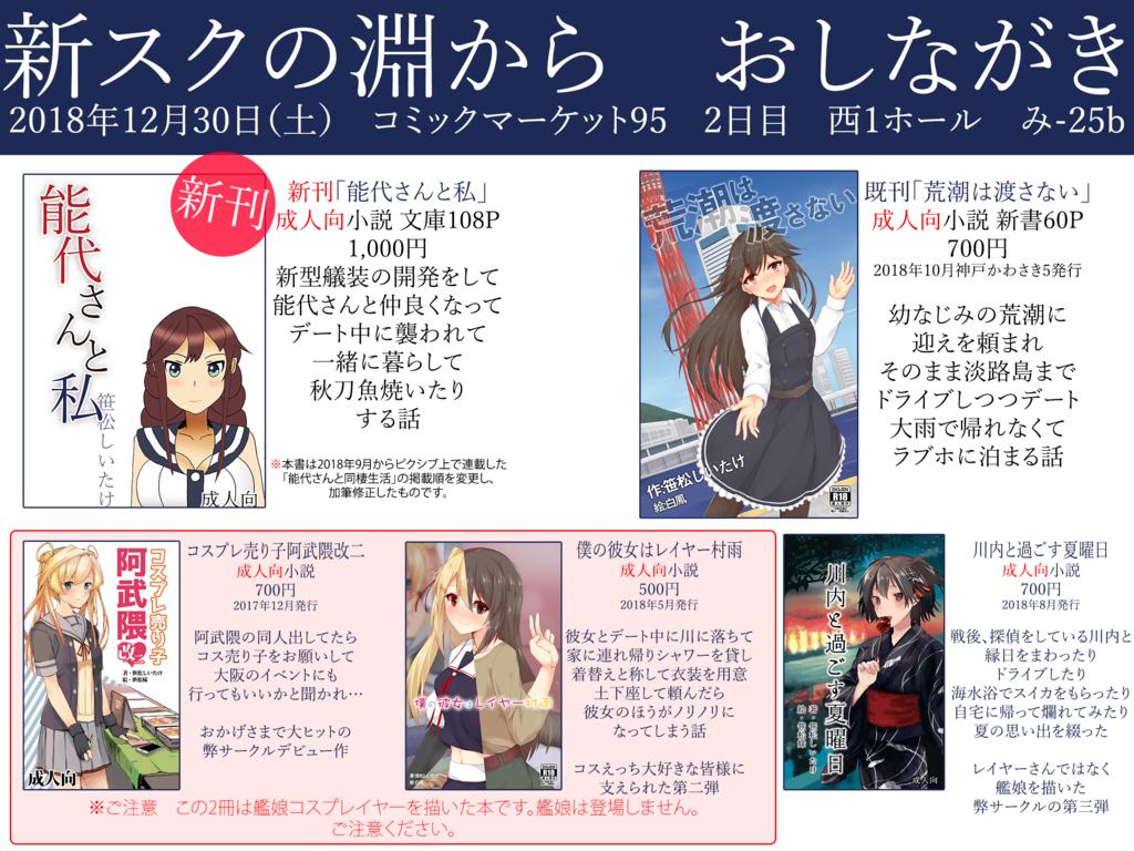 おしながき 新刊「能代さんと同棲生活」1000円 ほか