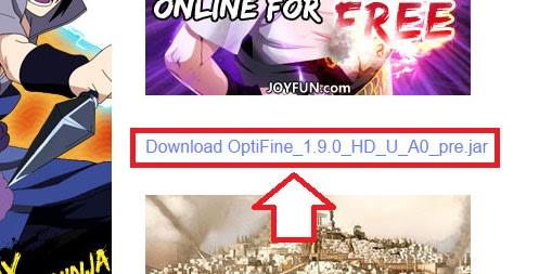 Optifineのダウンロードリンクをクリック