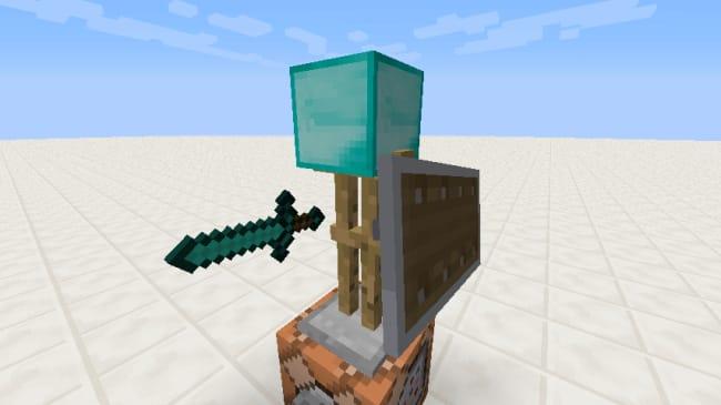 防具立てにブロックやアイテムを持たせると