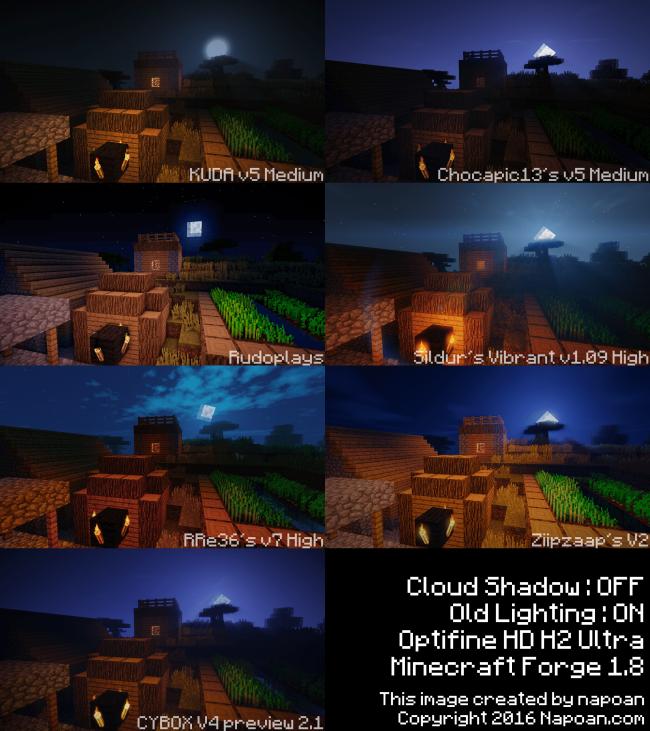 夜の村で夜空に浮かぶ月を眺めるでシェーダーパック比較