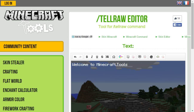 tellrawコマンドを簡単に生成できるツール