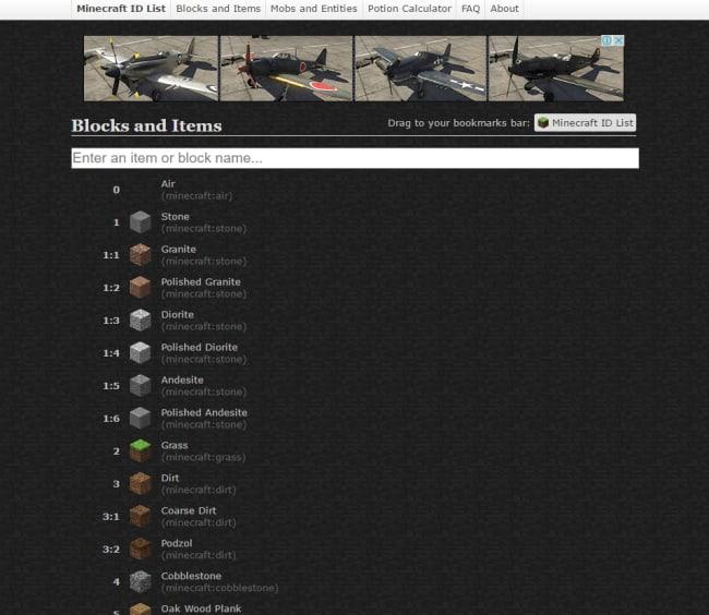 Minecraft ID List