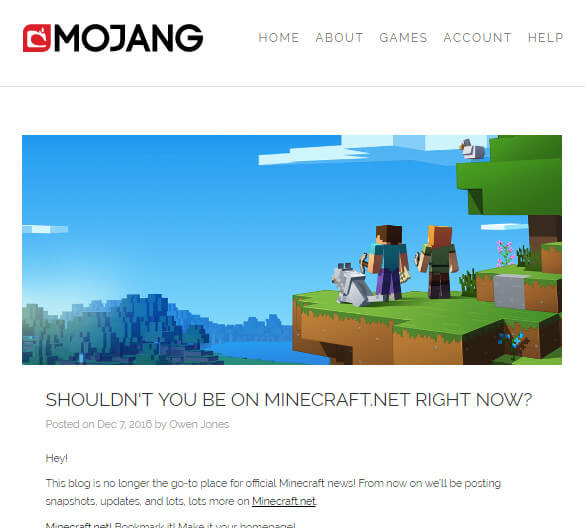 Shouldn't you be on Minecraft.net right now?