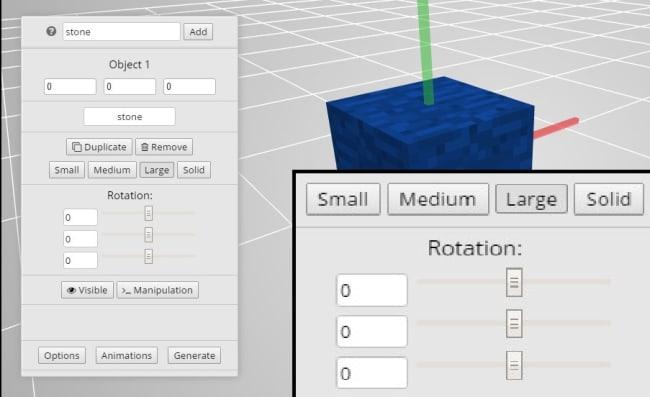 アイテム/ブロックの大きさや向きを設定