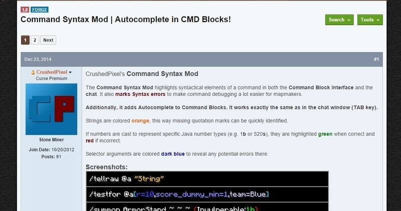 Command Syntax Mod | Autocomplete in CMD Blocks!