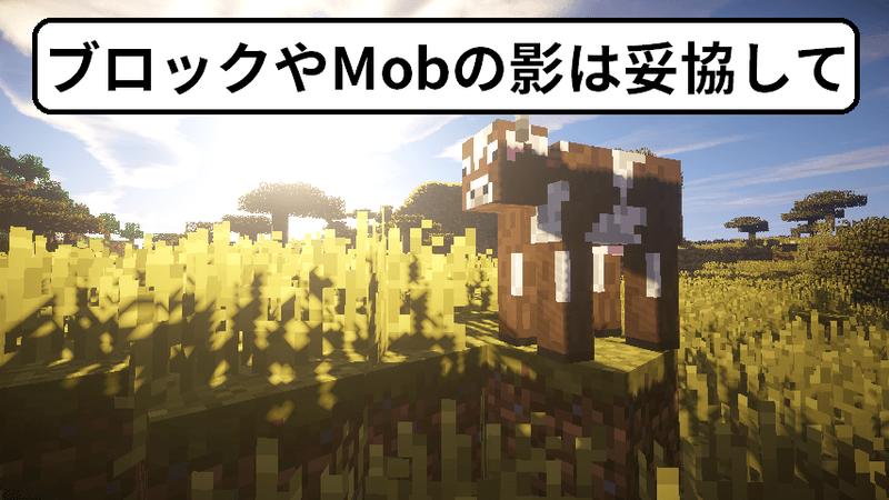 ブロックやMobの影には不具合があります