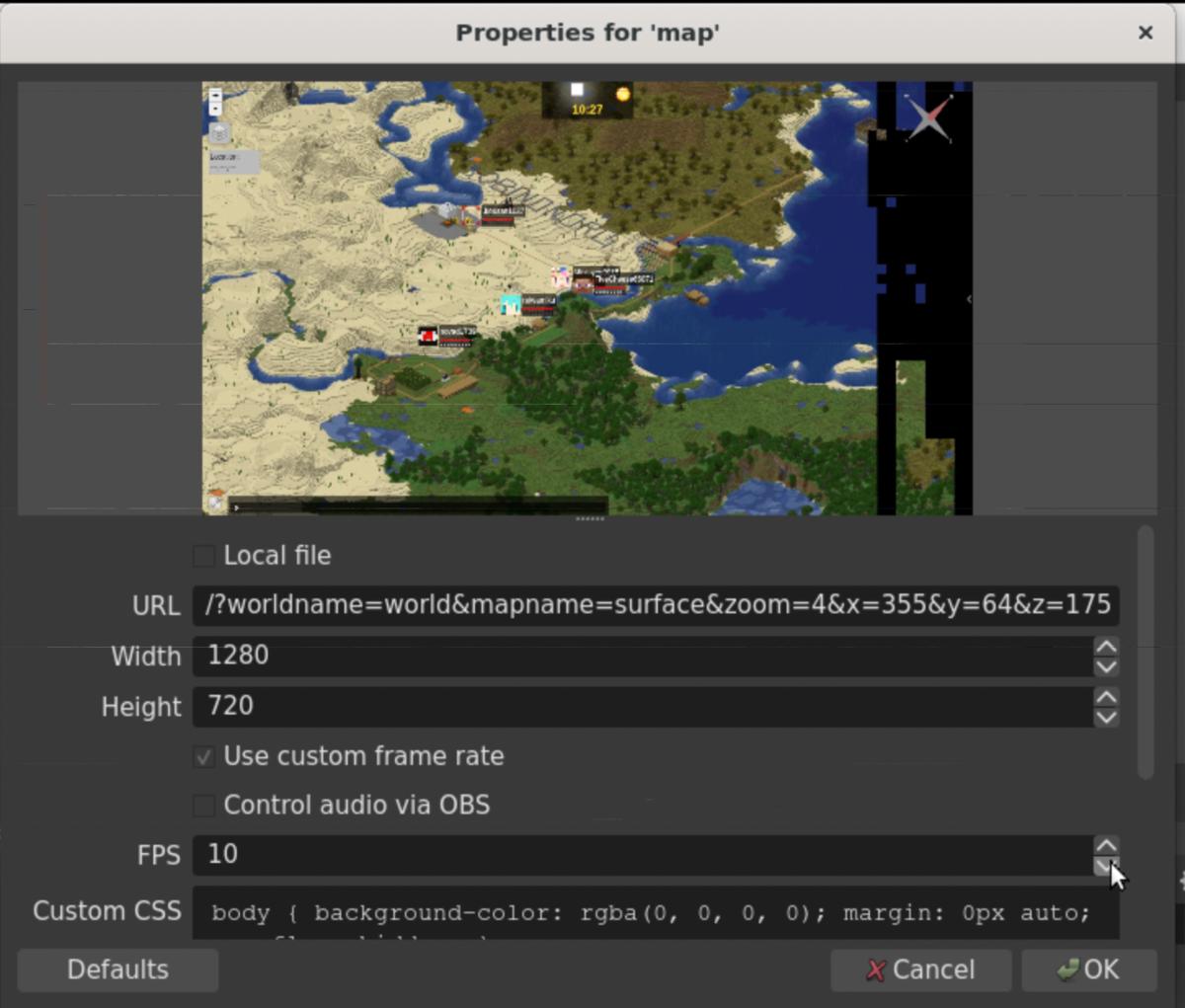 OBSのBrowserのマップの設定