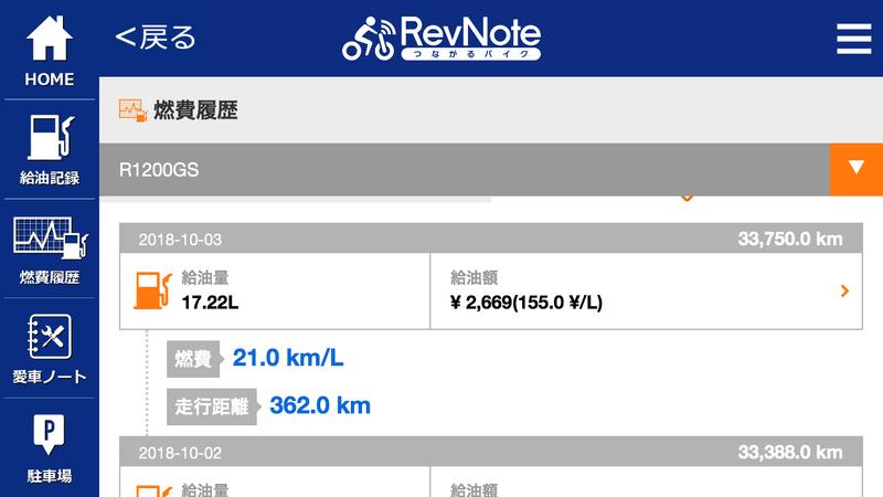 RevNoteの燃費利益画面