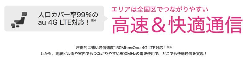 UQモバイルの通信速度の謳い文句