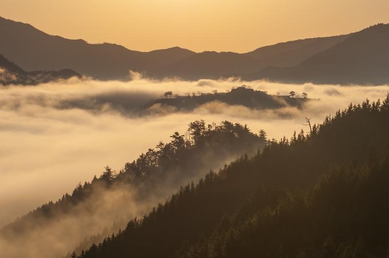 天空の城 竹田城の立雲峡からの眺め