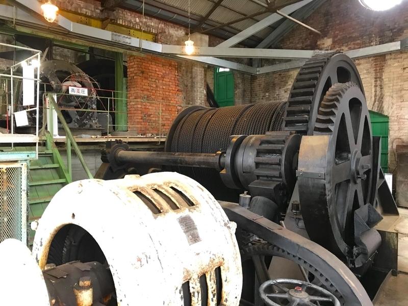 世界遺産 万田坑跡のエレベーターのエンジン室