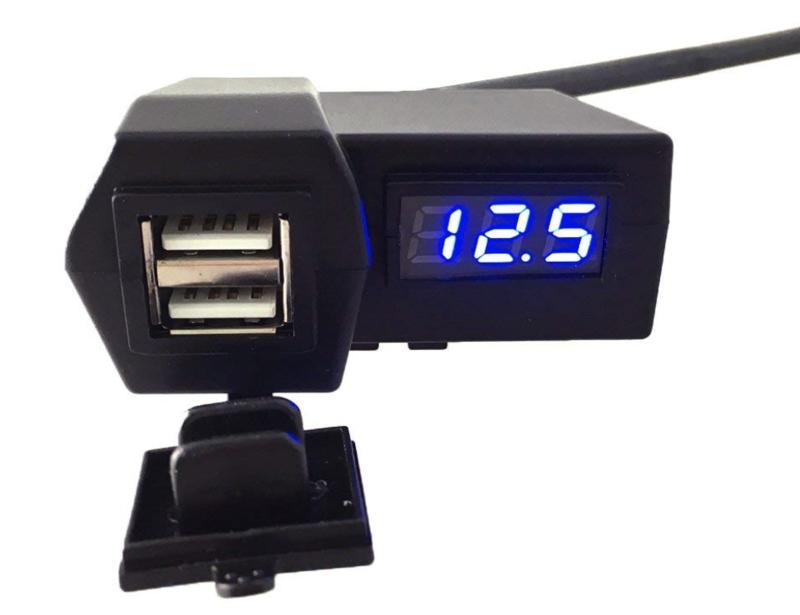 オートバイ GPS携帯電話  USB電源ソケット充電器+ BULE電圧計