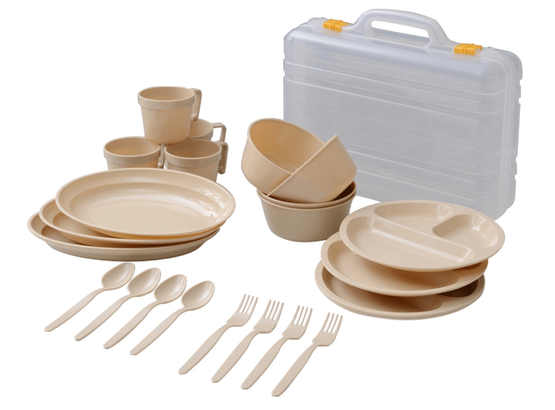 山善 キャンパーズコレクション デイパーティー食器セット ナチュラル PCW-12(NA)