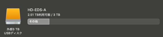 外付けHDDの容量をMacBookでチェック中