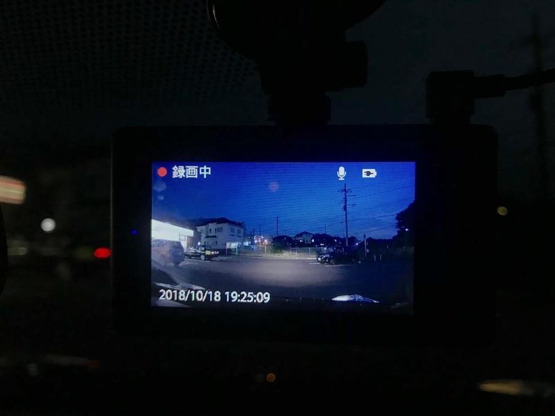 ドライブレコーダーで夜間撮影中
