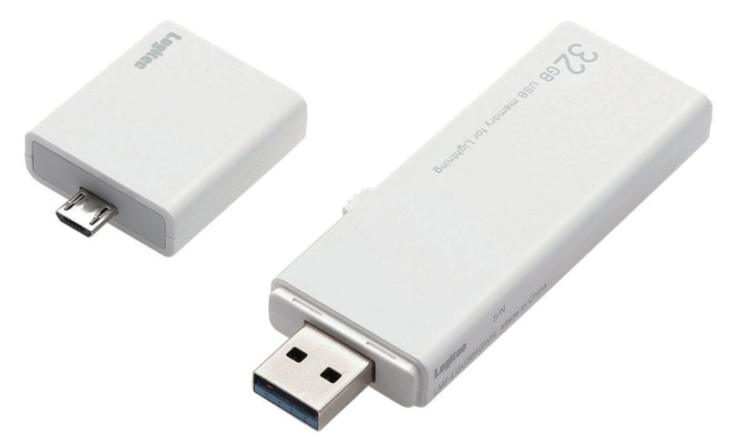 ロジテック USBメモリ 32GB USB3.0 ライトニング対応 microUSBアダプタ付