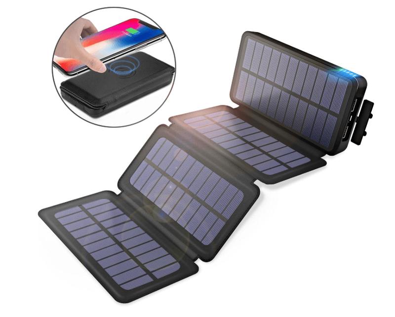 PZX モバイルバッテリー ソーラーチャージャー 20000mAhQi ワイヤレス充電器