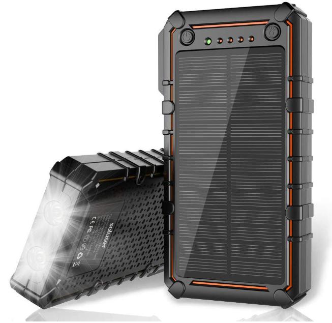 soluser ソーラーバッテリー 15000mAh ポータブルモバイルバッテリー