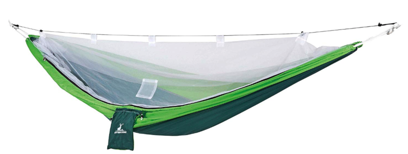 吊り下げ式:キャプテンスタッグ キャンプ べランダ ハンモック 蚊帳付