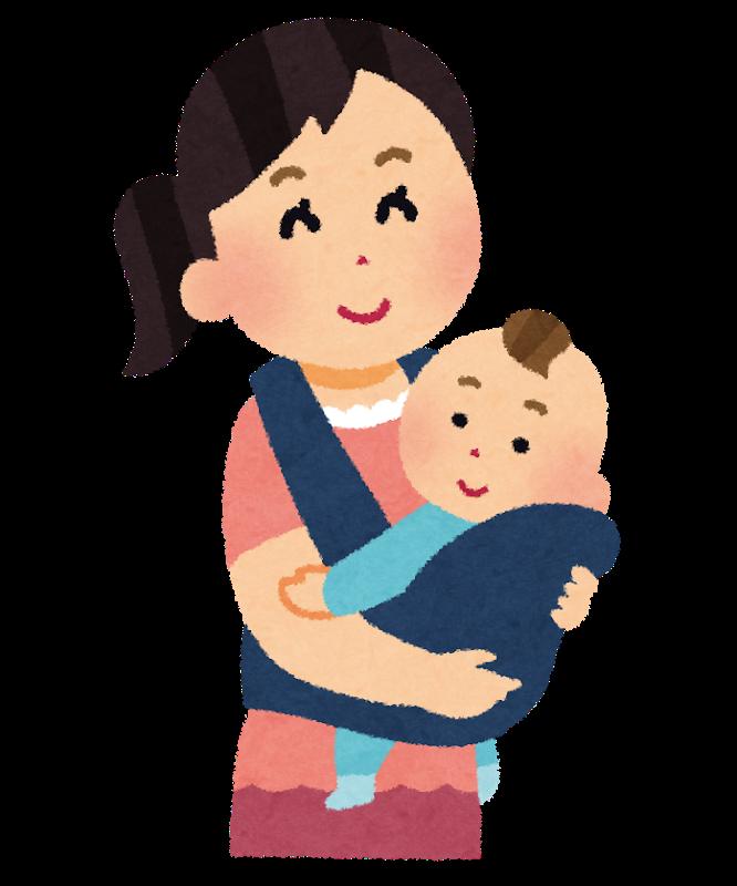 抱っこ紐を使って赤ちゃんを抱っこする画像