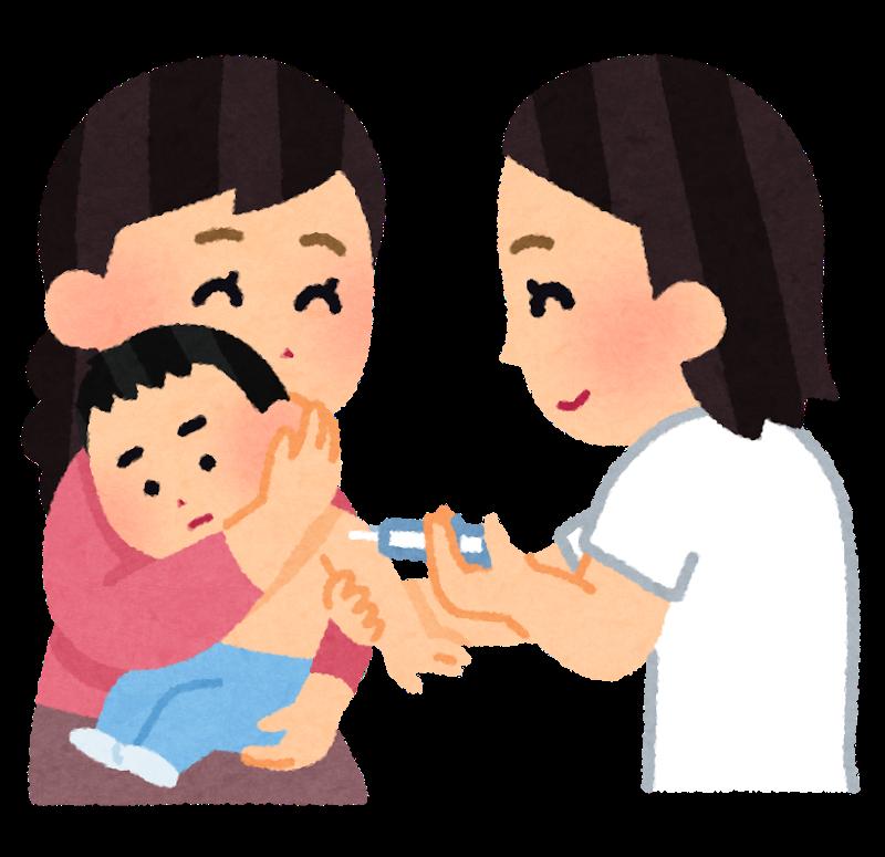 予防接種を受ける子供のイラスト
