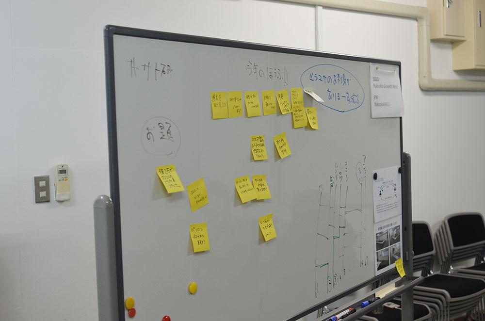 サト研のお題がホワイトボードに貼られています。